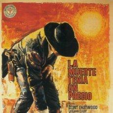 Cine: CUADRO CARTEL WESTERN DE CINE LA MUERTE TENIA UN PRECIO. CLINT EASTWOOD. EN MADERA DE 90X60 CM. RARO. Lote 37364366