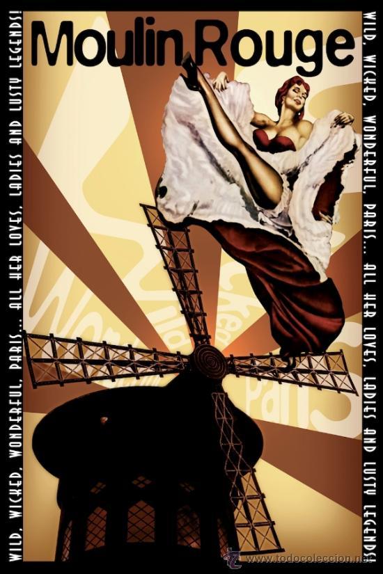 CUADRO CARTEL DE CINE. MOULIN ROUGE CLASICO. EN MADERA DE 50X35 CM. (Cine - Posters y Carteles - Musicales)