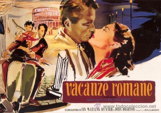 CUADRO CARTEL DE CINE. VACACIONES EN ROMA. AUDREY HEPBURN. EN MADERA DE 80X60 CM. (Cine - Posters y Carteles - Comedia)
