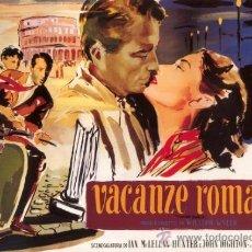Cine: CUADRO CARTEL DE CINE. VACACIONES EN ROMA. AUDREY HEPBURN. EN MADERA DE 80X60 CM.. Lote 37366329