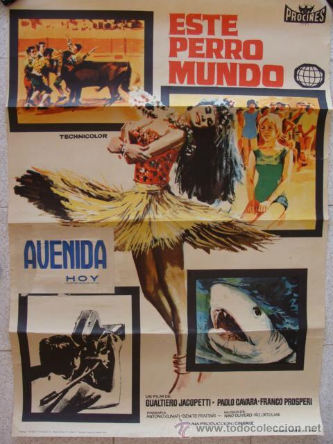 CARTEL CINE 100X70, ESTE PERRO MUNDO, CINE AVENIDA MALAGA 1964, OFERTA LEER. (Cine - Posters y Carteles - Aventura)