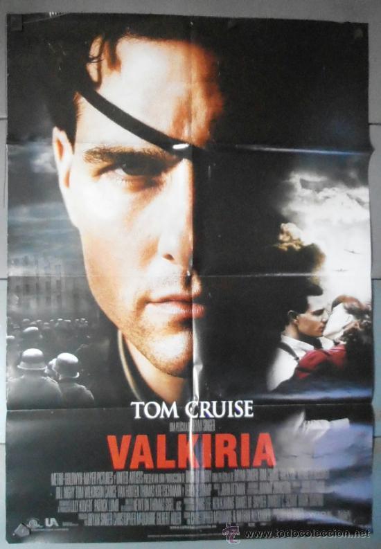 VALKIRIA, CARTEL DE CINE ORIGINAL 70X100 APROX (10746) (Cine - Posters y Carteles - Bélicas)