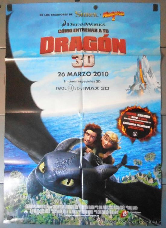 DRAGON 3D, CARTEL DE CINE ORIGINAL 70X100 APROX (11102) (Cine - Posters y Carteles - Infantil)