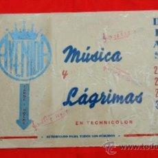 Cine: MUSICA Y LAGRIMAS, GLENN MILLER, CARTELITO LOCAL PLASTIFICADO, AÑOS 50 (45X32), CINE AVENIDA REUS. Lote 37637780