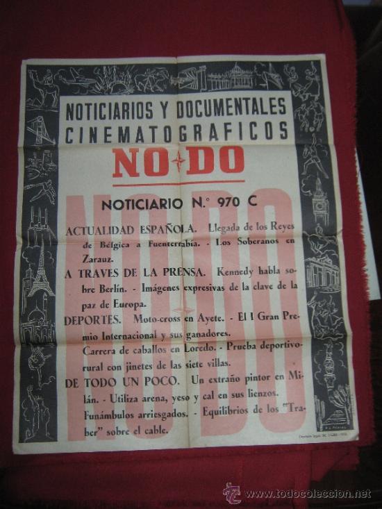 CARTEL NODO - NOTICIARIOS Y DOCUMENTALES CINEMATOGRAFICOS - Nº 970 C - 1958 (Cine - Posters y Carteles - Documentales)