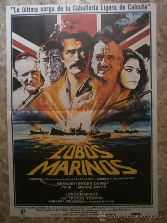 LOBOS MARINOS. GREGORY PECK, ROGER MOORE, DAVID NIVEN. AÑO 1980. (Cine - Posters y Carteles - Bélicas)