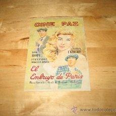 Cine: MINI CARTEL PROGRAMA FOLLETO PELÍCULA CINE PAZ EL EMBRUJO DE PARÍS ALCALÁ DE HENARES PLAZA CERVANTES. Lote 38064740