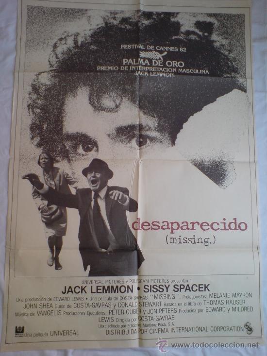 PÓSTER ORIGINAL DESAPARECIDO (Cine - Posters y Carteles - Suspense)