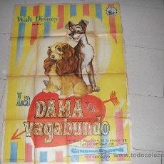Cine: WALT DISNEY LA DAMA Y EL VAGABUNDO POSTER ORIGINAL ESTRENO EN ESPAÑA 1955. SE ACEPTAN OFERTAS. Lote 38363556