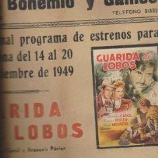 Cine: CINES BOHEMIO Y GALILEO.CARTEL(45X33) ESTRENO SEMANA 14 AL 20 NOVIEMBRE 1949:GUA. Lote 38750483