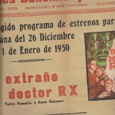 Cine: CINES BOHEMIO Y GALILEO.CARTEL(45X33) ESTRENOS SEMANA 26 DICIEM AL 1 ENERO 1950:-. Lote 38750548