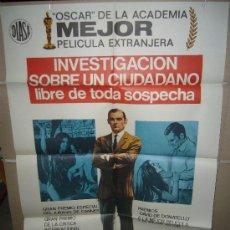 Cine: INVESTIGACION SOBRE UN CIUDADANO LIBRE DE TODA SOSPECHA VOLONTE BOLKAN POSTER ORIGINAL 70X100 (51). Lote 39179836