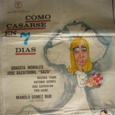 Cine: CARTEL DE CINE - MOVIE POSTER. COMO CASARSE EN 7 DIAS. 1970. Lote 39373215