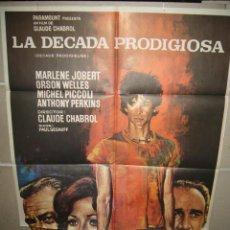 Cine: LA DECADA PRODIGIOSA ORSON WELLES ANTHONY PERKINS CHABROL MAC POSTER ORIGINAL 70X100 (284). Lote 39367041