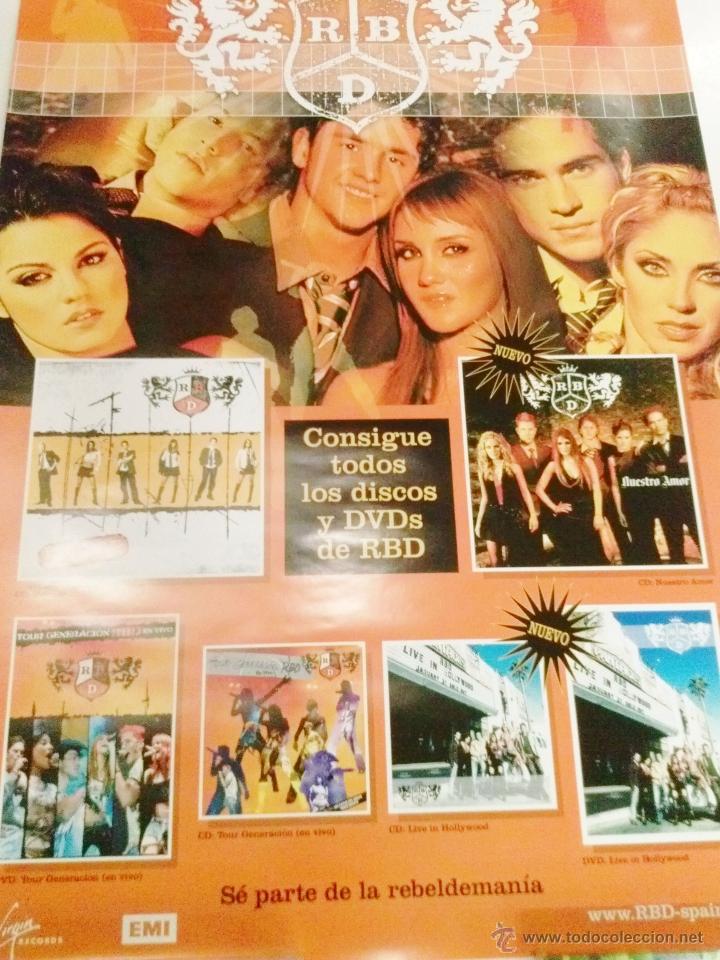 POSTER ORIGINAL- RBD REBELDES - 97CM ALTO POR 68 ANCHO APROX.ESPLÉNDIDA ILUSTRACIÓN (Cine - Posters y Carteles - Musicales)