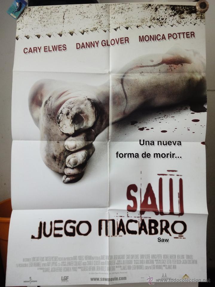 POSTER ORIGINAL JUEGO MACABRO SAW CARY ELWES DANNY GLOVER MONICA POTTER JAMES WAN 2004 DOBLE LADO (Cine - Posters y Carteles - Terror)