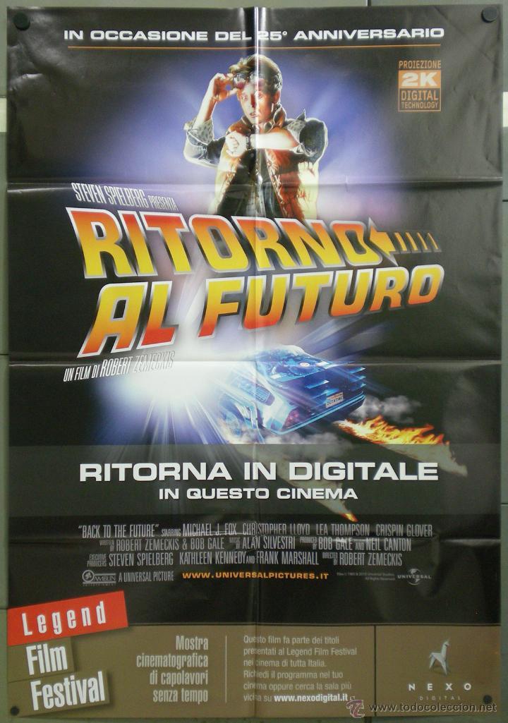 QH38 REGRESO AL FUTURO MICHAEL J. FOX STEVEN SPIELBERG POSTER ORIGINAL ITALIANO 100X140 (Cine - Posters y Carteles - Ciencia Ficción)
