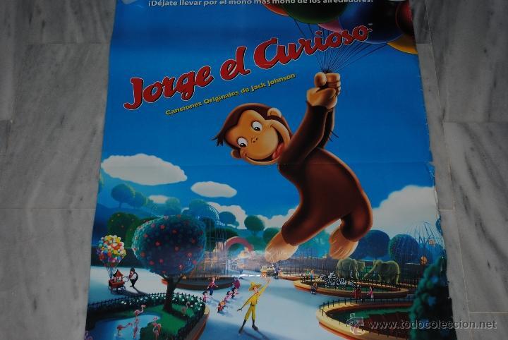 Cine: CARTEL DE CINE ORIGINAL JORGE EL CURIOSO, EL MONO MÁS MONO, 70 POR 100CM - Foto 2 - 40080679
