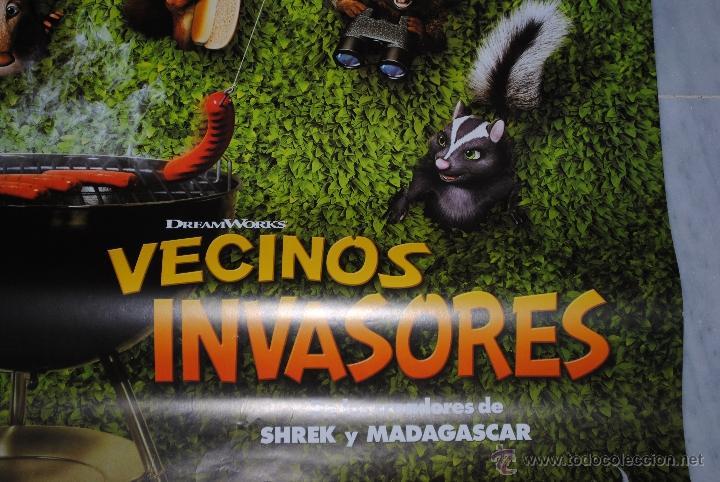 Cine: CARTEL DE CINE ORIGINAL VECINOS INVASORES, NUEVO, 70 POR 100CM - Foto 2 - 40082478