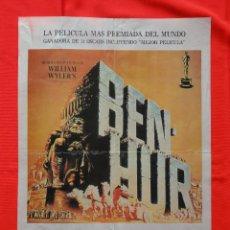 Cine: BEN HUR, CHARLTON HESTON, JACK HAWKINS, POSTER PLASTIFICADO ORIGINAL 41.5X58 ESTRENO VIDEO. Lote 40164840