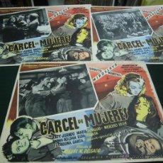 Cine: SARITA MONTIEL 3 CARTELERAS MEXICANAS DE LA PELICULA CARCEL DE MUJERES 30 X40 CTMS . Lote 40207897