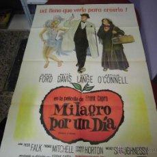Cine: BETTE DAVIS, GLEND FOR CARTEL ARGENTINO DE LA PELICULA MILAGRO POR UN DIA 75 X 110 CTMS. Lote 40345401