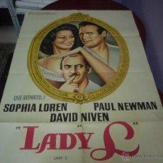 Cine: SOFIA LOREN CARTEL ARGENTINO DE LA PELICULA LADY 75 X 110 CTMS. Lote 40346098