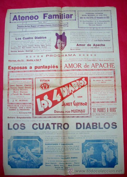 SANT BOI DE LLOBREGAT - CINE ATENEO - 1929 - POSTER PROGRAMA LOCAL - LOS CUATRO DIABLOS (Cine - Posters y Carteles - Comedia)
