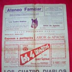 Cine: SANT BOI DE LLOBREGAT - CINE ATENEO - 1929 - POSTER PROGRAMA LOCAL - LOS CUATRO DIABLOS. Lote 40757040