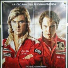 Cine: QJ80 RUSH CHRIS HEMSWORTH DANIEL BRUHL AUTOMOVILISMO POSTER ORIGINAL ITALIANO 140X200. Lote 41000541