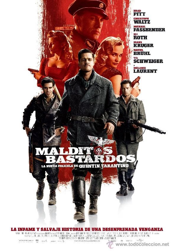 CARTEL DE CINE MALDITOS BASTARDOS BRAD PITT // ORIGINAL TAMAÑO 70X100 (Cine - Posters y Carteles - Bélicas)
