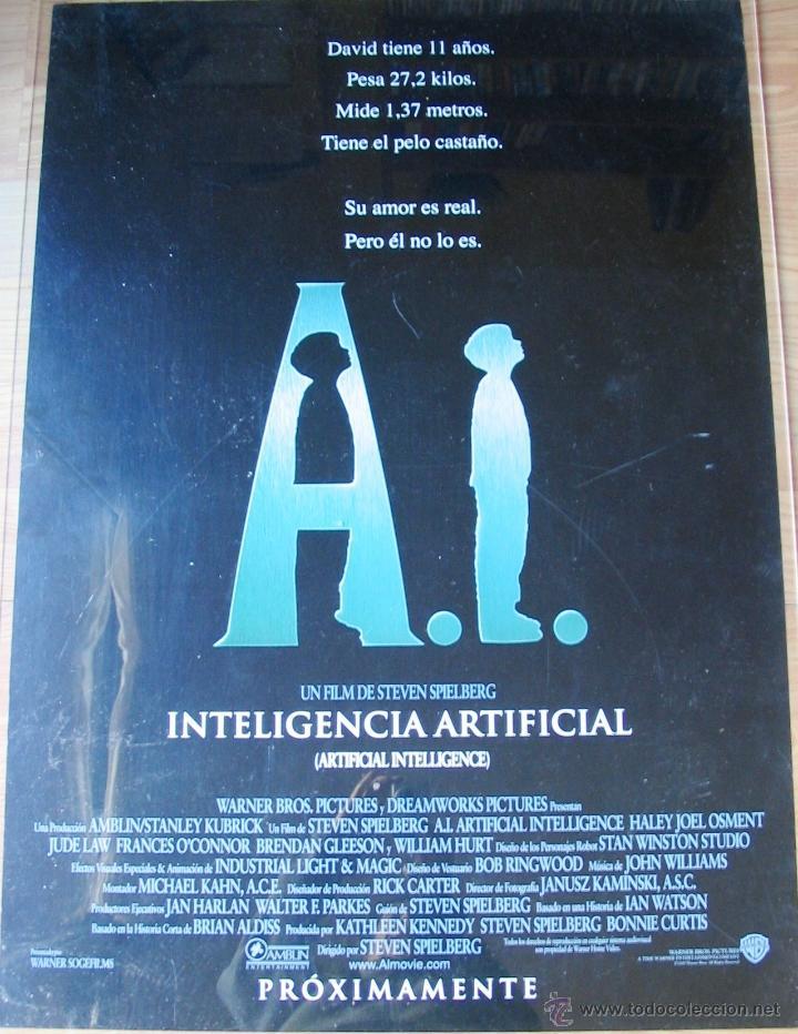 POSTER ORIGINAL ESPAÑOL - A.I. INTELIGENCIA ARTIFICIAL - TEASER - STEVEN SPIELBERG - JUDE LAW (Cine - Posters y Carteles - Ciencia Ficción)