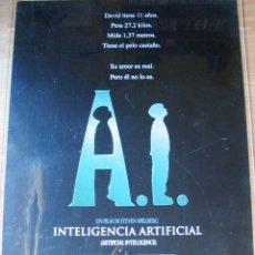 Cine: POSTER ORIGINAL ESPAÑOL - A.I. INTELIGENCIA ARTIFICIAL - TEASER - STEVEN SPIELBERG - JUDE LAW. Lote 41166765