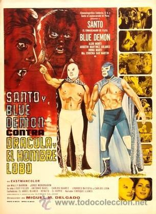 SANTO ENMASCARADO DE PLATA Y BLUE DEMON CONTRA DRACULA Y EL HOMBRE LOBO-PERFECTO ESTADO- (Cine - Posters y Carteles - Acción)