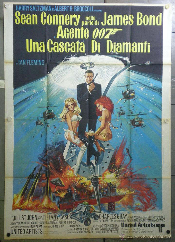 QI03D DIAMANTES PARA LA ETERNIDAD JAMES BOND 007 SEAN CONNERY POSTER ORIGINAL 140X200 ITALIANO (Cine - Posters y Carteles - Acción)
