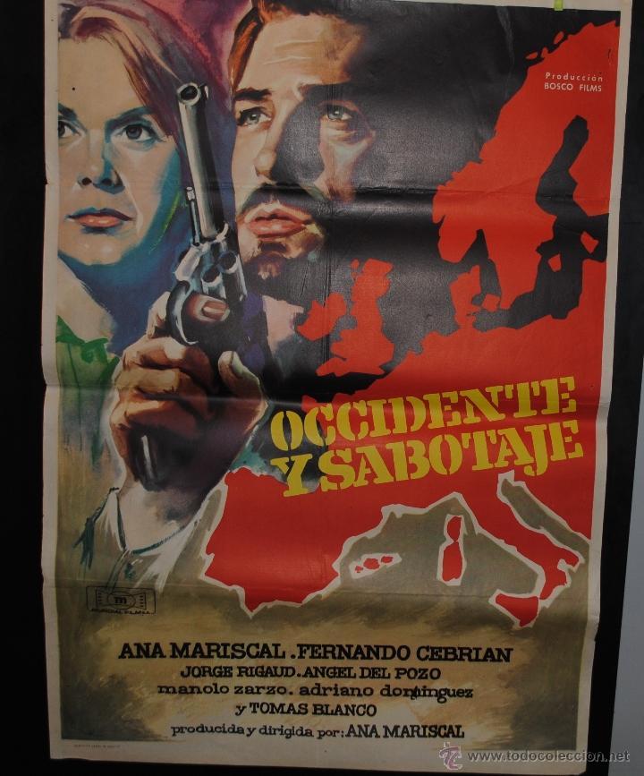 CARTEL DE CINE ORIGINAL OCCIDENTE Y SABOTAJE 1962, ANA MARISCAL FERNANDO CEBRIAN, 70 POR 100CM (Cine - Posters y Carteles - Bélicas)