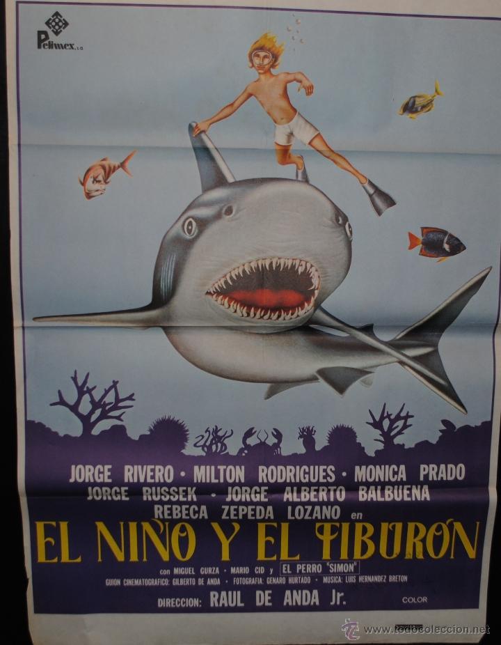 CARTEL DE CINE ORIGINAL EL NIÑO Y EL TIBURÓN, 70 POR 100CM (Cine - Posters y Carteles - Infantil)