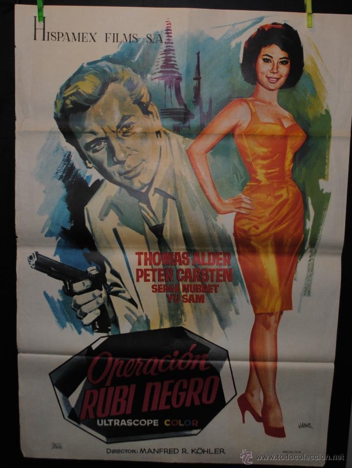 CARTEL DE CINE ORIGINAL OPERACIÓN RUBÍ NEGRO 1966, 70 POR 100CM (Cine - Posters y Carteles - Suspense)