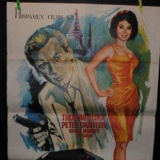 Cine: CARTEL DE CINE ORIGINAL OPERACIÓN RUBÍ NEGRO 1966, 70 POR 100CM. Lote 41355537