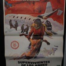 Cine: CARTEL DE CINE ORIGINAL DE LA PELÍCULA SUPERVIVIENTES DE LOS ANDES, 70 POR 100CM. Lote 41355701