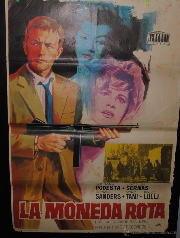 CARTEL DE CINE ORIGINAL LA MONEDA ROTA, JANO, 1966, 70 POR 100CM (Cine - Posters y Carteles - Westerns)