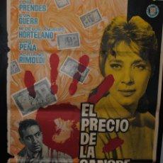 Cine: CARTEL DE CINE ORIGINAL DE LA PELÍCULA EL PRECIO DE LA SANGRE, 1959, 70 POR 100CM. Lote 41404550