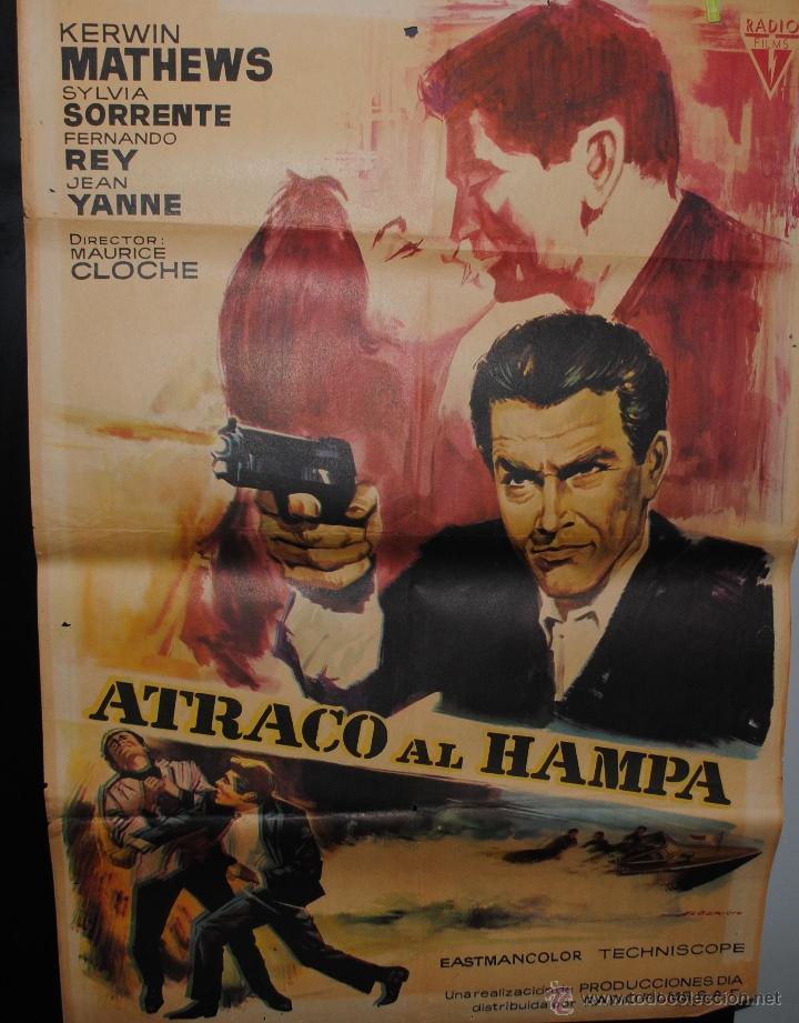 CARTEL DE CINE ORIGINAL DE LA PELÍCULA ATRACO AL HAMPA, 1967, 70 POR 100CM (Cine - Posters y Carteles - Clasico Español)