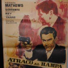 Cine: CARTEL DE CINE ORIGINAL DE LA PELÍCULA ATRACO AL HAMPA, 1967, 70 POR 100CM. Lote 41404620