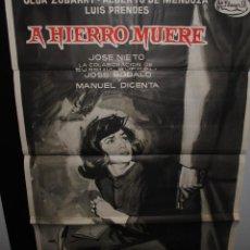 Cine: CARTEL DE CINE ORIGINAL DE LA PELÍCULA A HIERRO MUERE, JANO, 70 POR 100CM. Lote 41563834