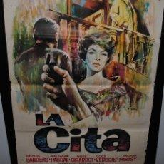 Cine: CARTEL DE CINE ORIGINAL DE LA PELÍCULA LA CITA, 1962, 70 POR 100CM. Lote 41606474