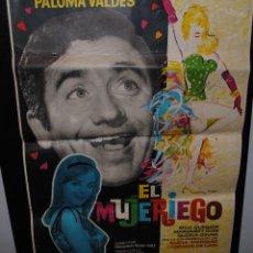 Cine: CARTEL DE CINE ORIGINAL DE LA PELÍCULA EL MUJERIEGO, 1963, 70 POR 100CM. Lote 41638822