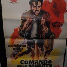 Cine: CARTEL DE CINE ORIGINAL DE LA PELÍCULA COMANDO DE LA MUERTE, 1962, 70 POR 100CM. Lote 41639073