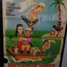 Cine: CARTEL DE CINE ORIGINAL DE LA PELÍCULA UNA ISLA CON TOMATE, 1962, 70 POR 100CM. Lote 41639118