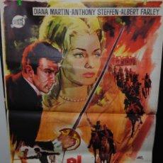 Cine: CARTEL DE CINE ORIGINAL DE LA PELÍCULA EL CABALLERO NEGRO, 1965, 70 POR 100CM. Lote 41640562